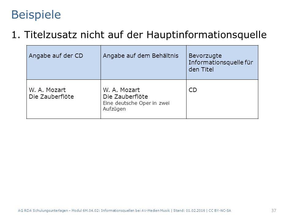 Beispiele 1. Titelzusatz nicht auf der Hauptinformationsquelle AG RDA Schulungsunterlagen – Modul 6M.04.02: Informationsquellen bei AV-Medien Musik |