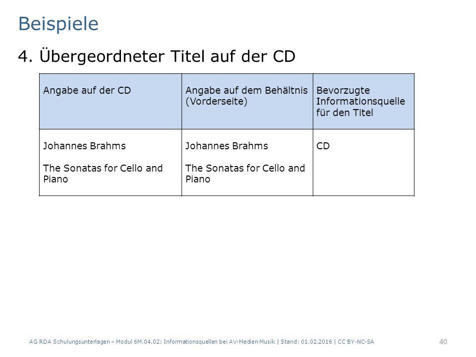 Beispiele 4. Übergeordneter Titel auf der CD AG RDA Schulungsunterlagen – Modul 6M.04.02: Informationsquellen bei AV-Medien Musik | Stand: 01.02.2016
