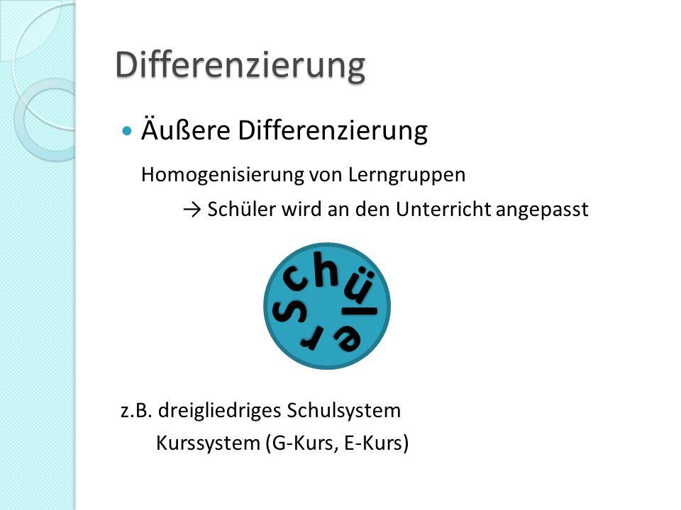 Differenzierung Innere Differenzierung / Binnendifferenzierung Individuelle Förderung einzelner Lernender in einer bestehenden Lerngruppe → Unterricht wird an den Schüler angepasst