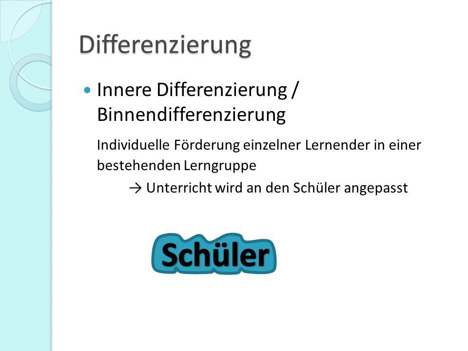 Differenzierung Innere Differenzierung / Binnendifferenzierung Individuelle Förderung einzelner Lernender in einer bestehenden Lerngruppe → Unterricht