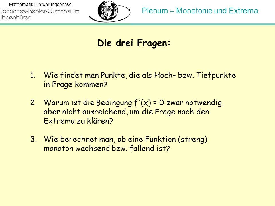 Plenum – Monotonie und Extrema Mathematik Einführungsphase Die drei Fragen: 1.Wie findet man Punkte, die als Hoch- bzw. Tiefpunkte in Frage kommen? 2.