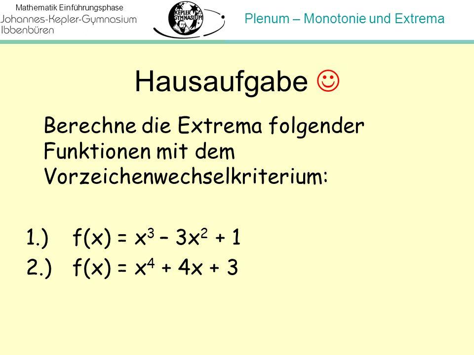 Plenum – Monotonie und Extrema Mathematik Einführungsphase Hausaufgabe Berechne die Extrema folgender Funktionen mit dem Vorzeichenwechselkriterium: 1