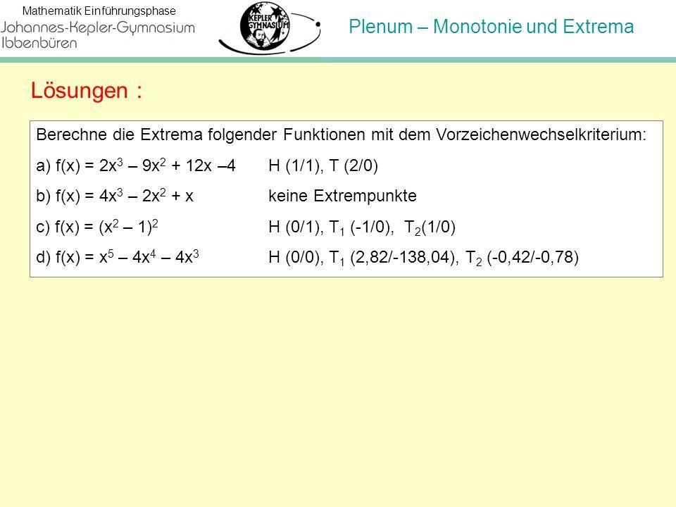 Plenum – Monotonie und Extrema Mathematik Einführungsphase Berechne die Extrema folgender Funktionen mit dem Vorzeichenwechselkriterium: a) f(x) = 2x
