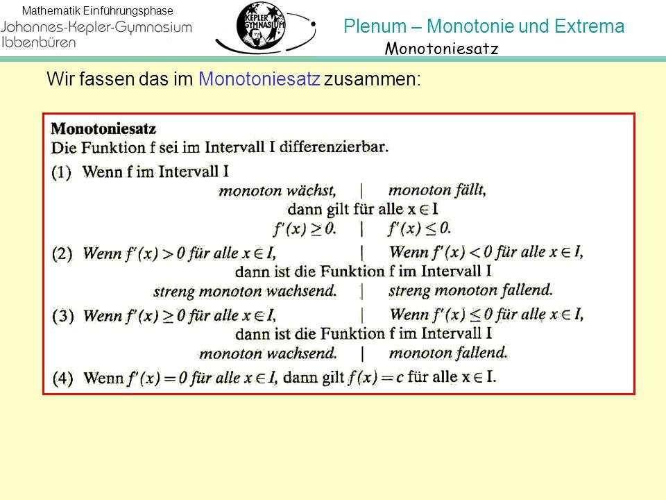Plenum – Monotonie und Extrema Mathematik Einführungsphase Und noch ein paar wichtige Begriffe: Punkt meint beide Koordinaten P( x | f(x) ) also ( die Stelle x | den Funktionswert y ) Stelle meint nur den x-Wert, Max-, Mini-, Extremum jeweils den Funktionswert y an der Stelle.
