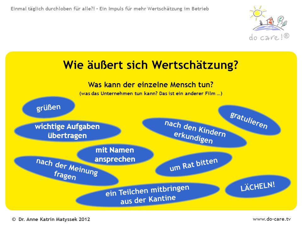 www.do-care.tv © Dr. Anne Katrin Matyssek 2012 ® Wie äußert sich Wertschätzung.