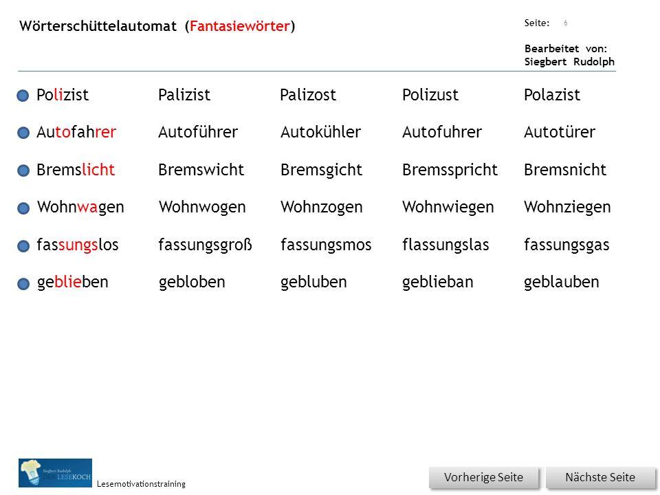Übungsart: Seite: Bearbeitet von: Siegbert Rudolph Lesemotivationstraining Wörterschüttelautomat (Fantasiewörter) 6 PolizistPalizistPalizostPolizustPo