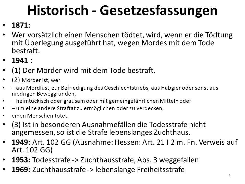 Reformvorschläge AE-Leben, GA 2008, 193: Regelbeispiele Deckers/König/Fischer/Bernsmann, NStZ 2014, 9: Abschaffung des Mordes Mandla, FS-Rössner, 2015, S.