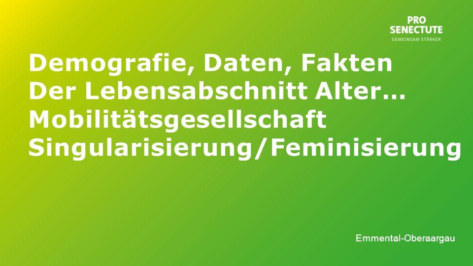 Demografie, Daten, Fakten Der Lebensabschnitt Alter… Mobilitätsgesellschaft Singularisierung/Feminisierung Emmental-Oberaargau