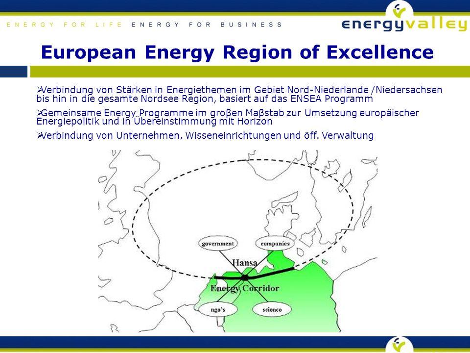  Verbindung von Stärken in Energiethemen im Gebiet Nord-Niederlande /Niedersachsen bis hin in die gesamte Nordsee Region, basiert auf das ENSEA Programm  Gemeinsame Energy Programme im groβen Maβstab zur Umsetzung europäischer Energiepolitik und in Übereinstimmung mit Horizon  Verbindung von Unternehmen, Wisseneinrichtungen und öff.