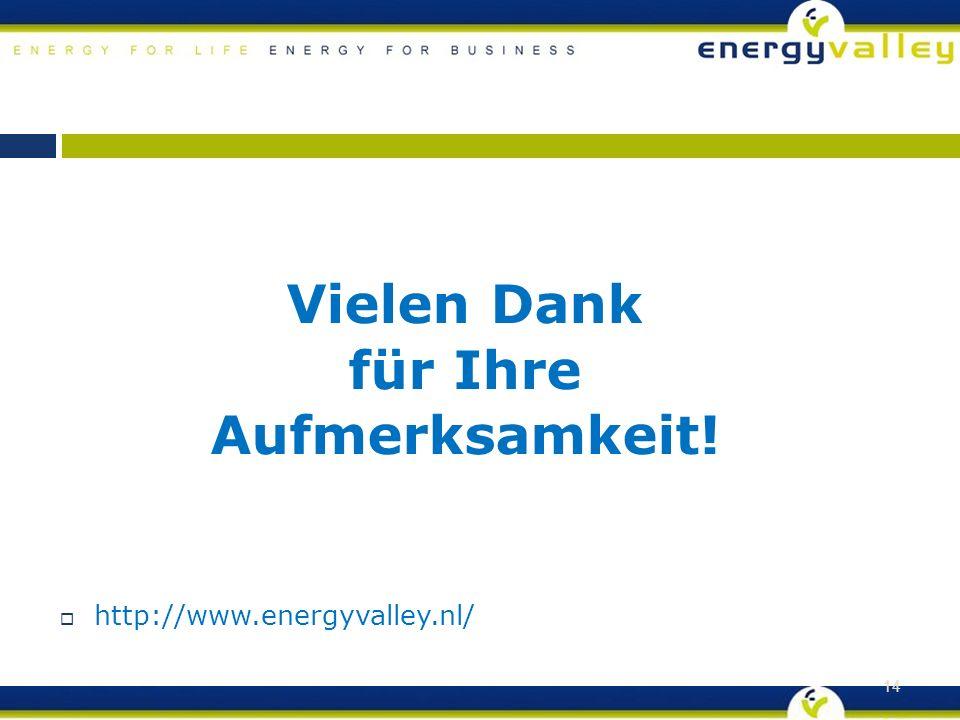 Vielen Dank für Ihre Aufmerksamkeit!  http://www.energyvalley.nl/ 14