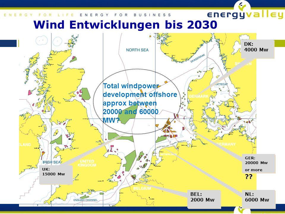 Wind Entwicklungen bis 2030 UK: 15000 Mw UK: 15000 Mw BEL: 2000 Mw BEL: 2000 Mw NL: 6000 Mw NL: 6000 Mw GER: 20000 Mw or more .