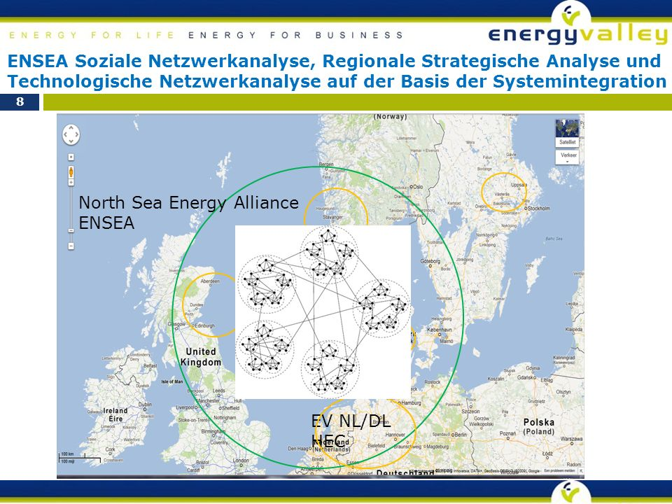 8 North Sea Energy Alliance ENSEA EV NL/DL HEC ENSEA Soziale Netzwerkanalyse, Regionale Strategische Analyse und Technologische Netzwerkanalyse auf der Basis der Systemintegration