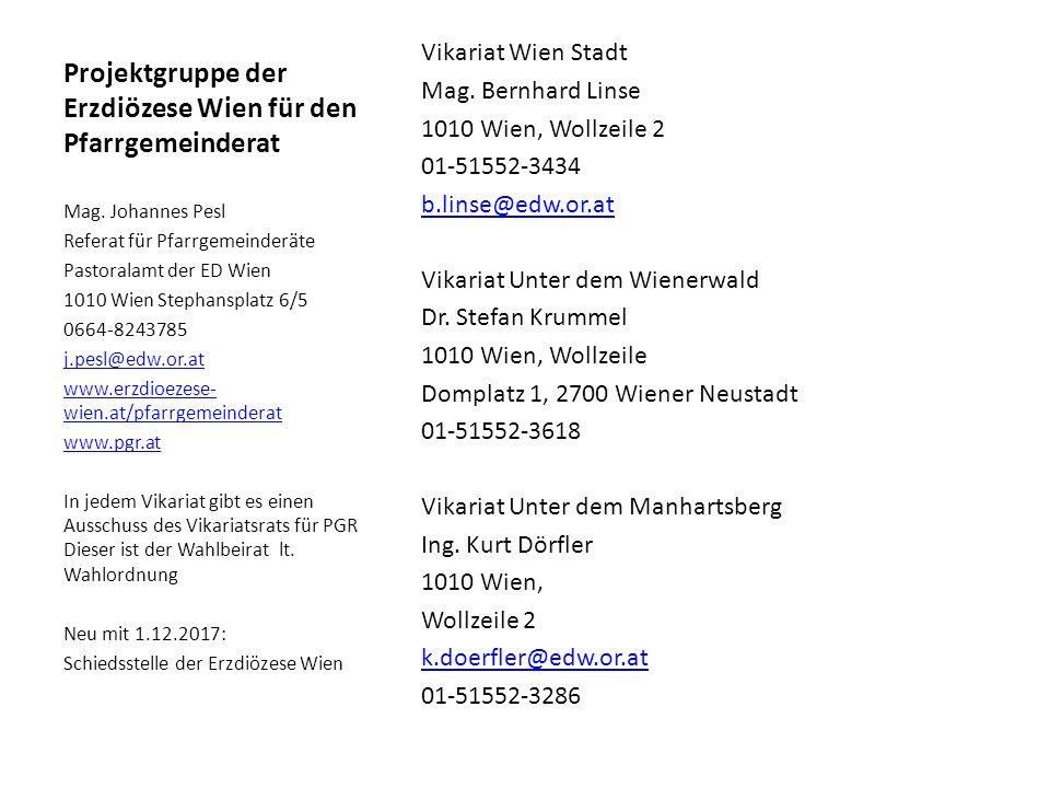 Projektgruppe der Erzdiözese Wien für den Pfarrgemeinderat Vikariat Wien Stadt Mag.