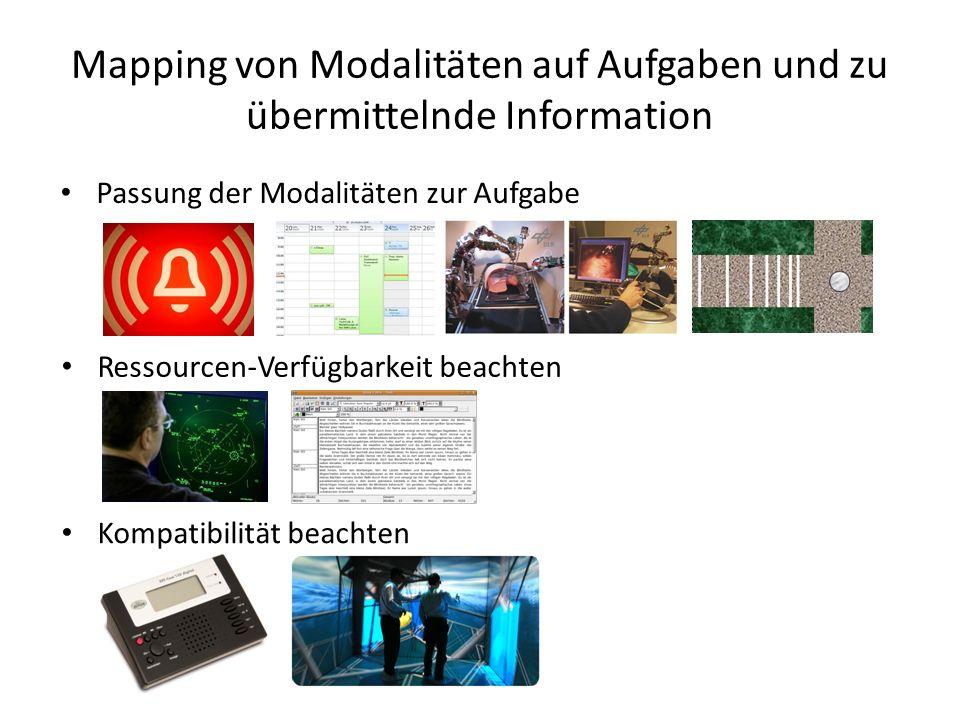 Mapping von Modalitäten auf Aufgaben und zu übermittelnde Information Passung der Modalitäten zur Aufgabe Ressourcen-Verfügbarkeit beachten Kompatibilität beachten