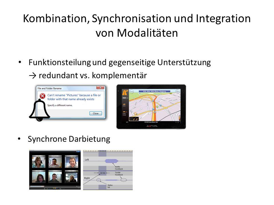 Kombination, Synchronisation und Integration von Modalitäten Funktionsteilung und gegenseitige Unterstützung → redundant vs.