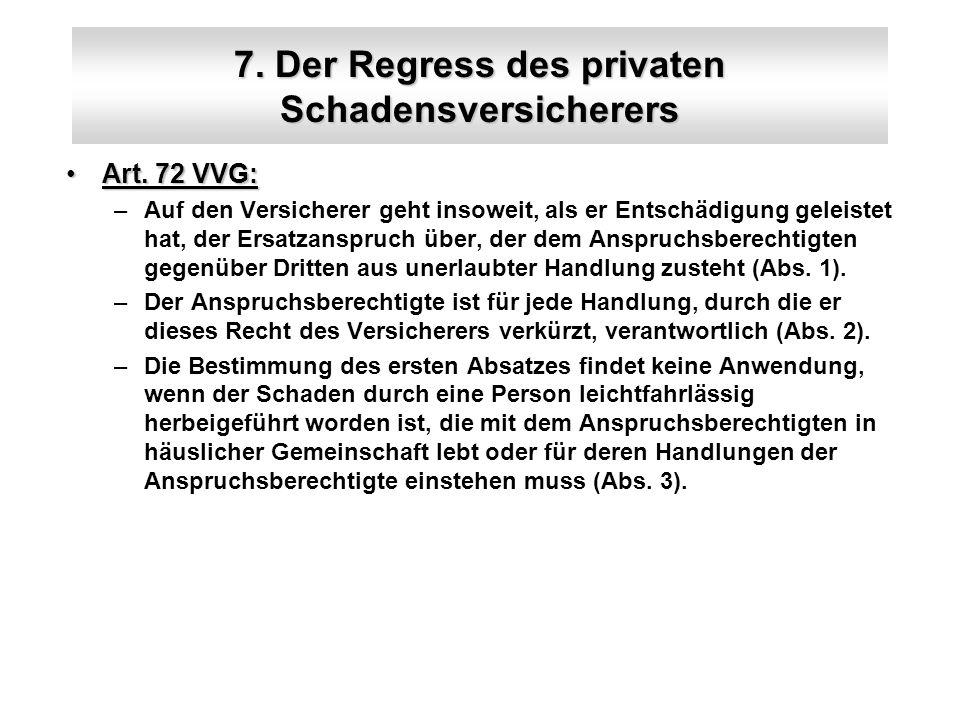 7. Der Regress des privaten Schadensversicherers Art. 72 VVG:Art. 72 VVG: –Auf den Versicherer geht insoweit, als er Entschädigung geleistet hat, der