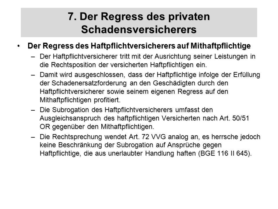 7. Der Regress des privaten Schadensversicherers Der Regress des Haftpflichtversicherers auf MithaftpflichtigeDer Regress des Haftpflichtversicherers