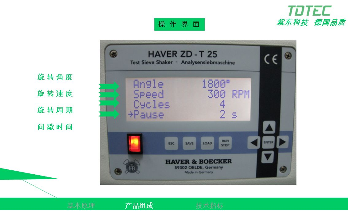 紫东科技 德国品质 产品简述 基本原理产品组成技术指标 操 作 界 面 旋 转 角 度旋 转 角 度 旋 转 速 度旋 转 速 度 旋 转 周 期旋 转 周 期 间 歇 时 间间 歇 时 间