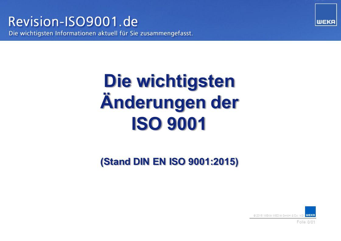 © 2015 WEKA MEDIA GmbH & Co. KG Folie Ihr Logo 0/01 Die wichtigsten Änderungen der ISO 9001 (Stand DIN EN ISO 9001:2015)