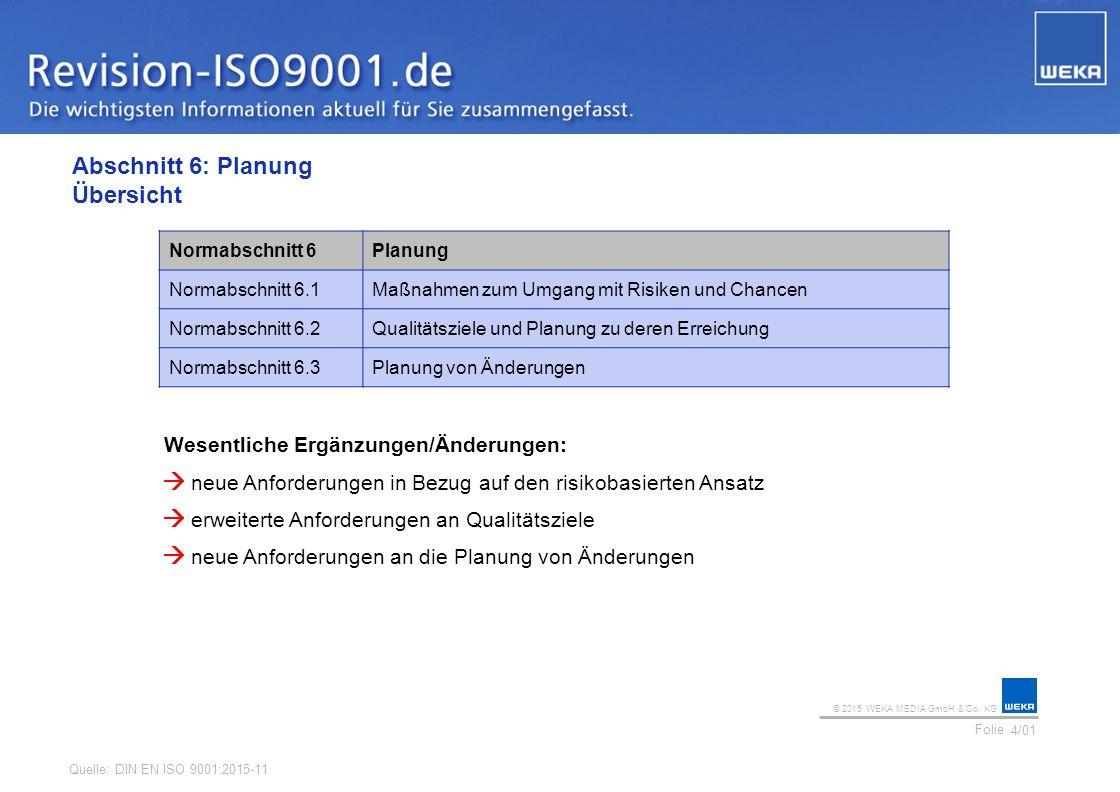 © 2015 WEKA MEDIA GmbH & Co. KG Folie Ihr Logo Abschnitt 6: Planung Übersicht 4/01 Normabschnitt 6Planung Normabschnitt 6.1Maßnahmen zum Umgang mit Ri