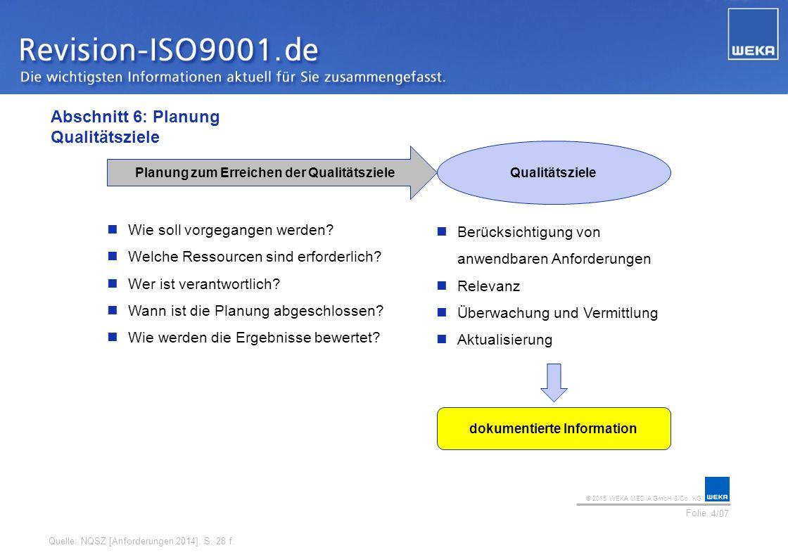 © 2015 WEKA MEDIA GmbH & Co. KG Folie Ihr Logo Abschnitt 6: Planung Qualitätsziele 4/07 Quelle: NQSZ [Anforderungen 2014], S. 28 f. Qualitätsziele Pla