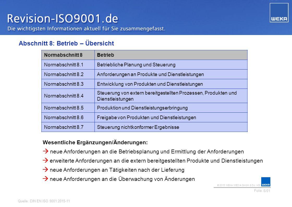 © 2015 WEKA MEDIA GmbH & Co. KG Folie Ihr Logo Abschnitt 8: Betrieb – Übersicht 6/01 Normabschnitt 8Betrieb Normabschnitt 8.1Betriebliche Planung und