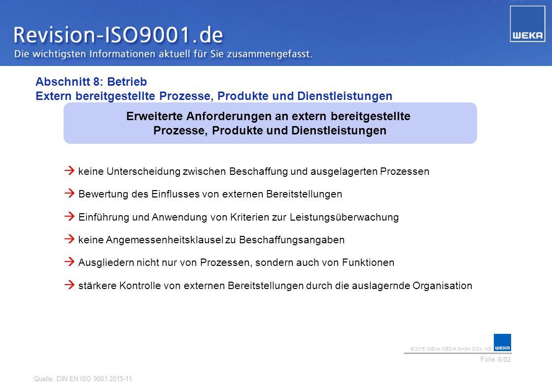 © 2015 WEKA MEDIA GmbH & Co. KG Folie Ihr Logo Abschnitt 8: Betrieb Extern bereitgestellte Prozesse, Produkte und Dienstleistungen 6/02 Erweiterte Anf