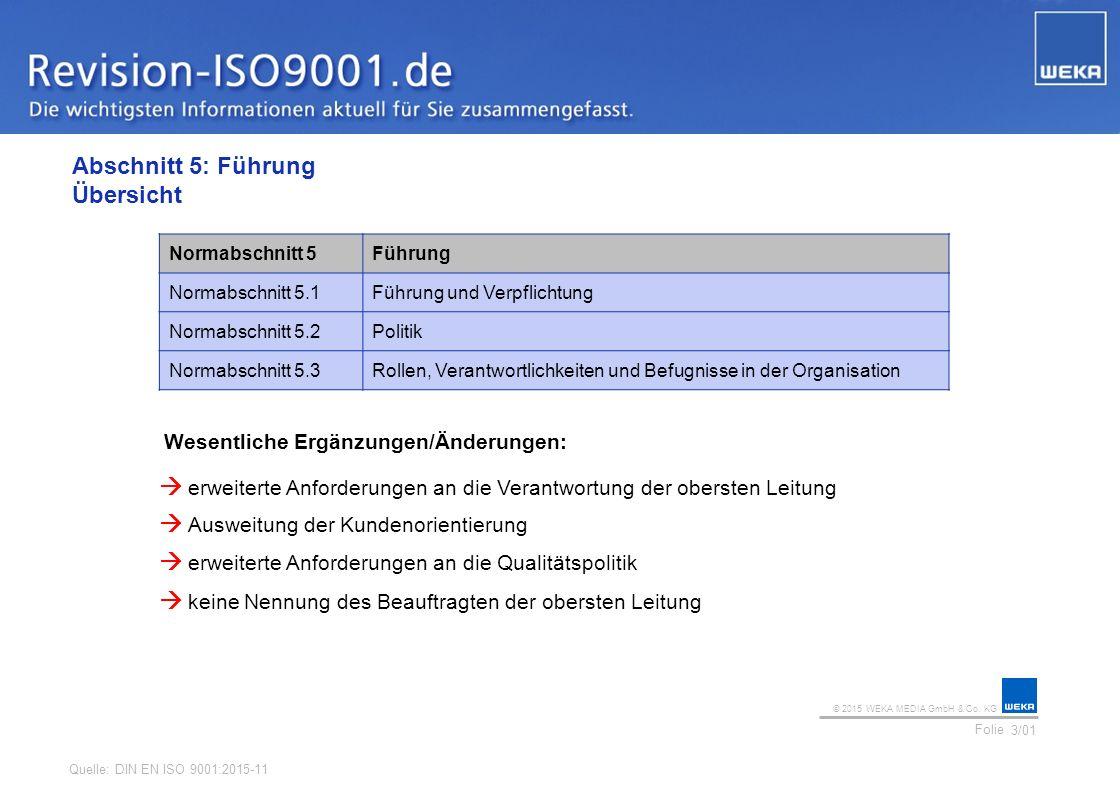 © 2015 WEKA MEDIA GmbH & Co. KG Folie Ihr Logo Abschnitt 5: Führung Übersicht 3/01 Normabschnitt 5Führung Normabschnitt 5.1Führung und Verpflichtung N