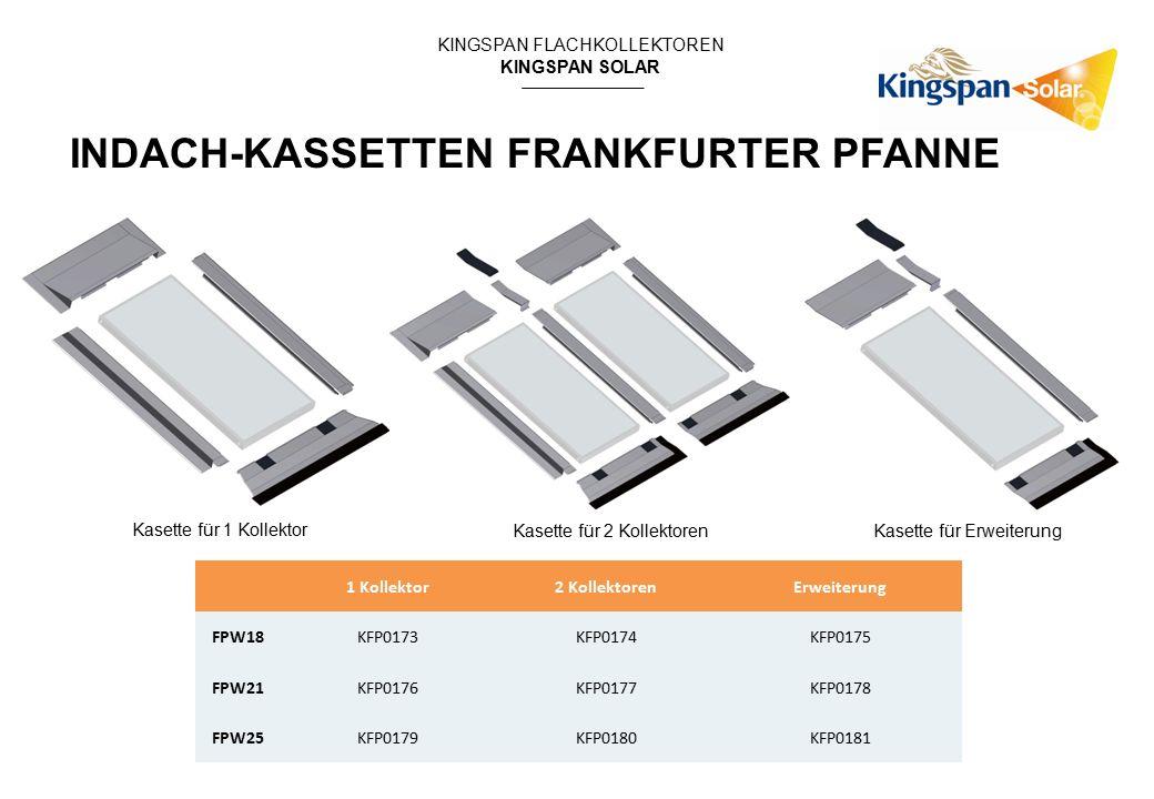 KINGSPAN FLACHKOLLEKTOREN KINGSPAN SOLAR Kasette für 1 Kollektor Kasette für 2 KollektorenKasette für Erweiterung 1 Kollektor2 KollektorenErweiterung FPW18KFP0173KFP0174KFP0175 FPW21KFP0176KFP0177KFP0178 FPW25KFP0179KFP0180KFP0181 INDACH-KASSETTEN FRANKFURTER PFANNE