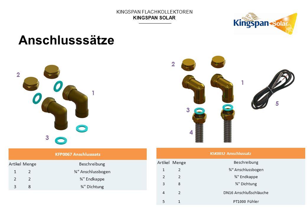 """KINGSPAN FLACHKOLLEKTOREN KINGSPAN SOLAR KFP0067 Anschlusssatz ArtikelMengeBeschreibung 12 ¾"""" Anschlussbogen 22 ¾"""