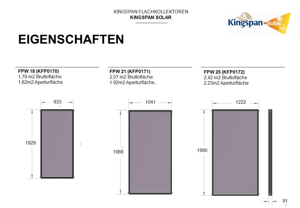 KINGSPAN FLACHKOLLEKTOREN KINGSPAN SOLAR EIGENSCHAFTEN FPW 21 (KFP0171) 2,07 m2 Bruttofläche. 1.92m2 Aperturfläche. FPW 25 (KFP0172) 2,42 m2 Bruttoflä