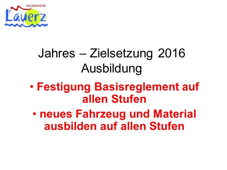 Jahres – Zielsetzung 2016 Ausbildung Festigung Basisreglement auf allen Stufen neues Fahrzeug und Material ausbilden auf allen Stufen