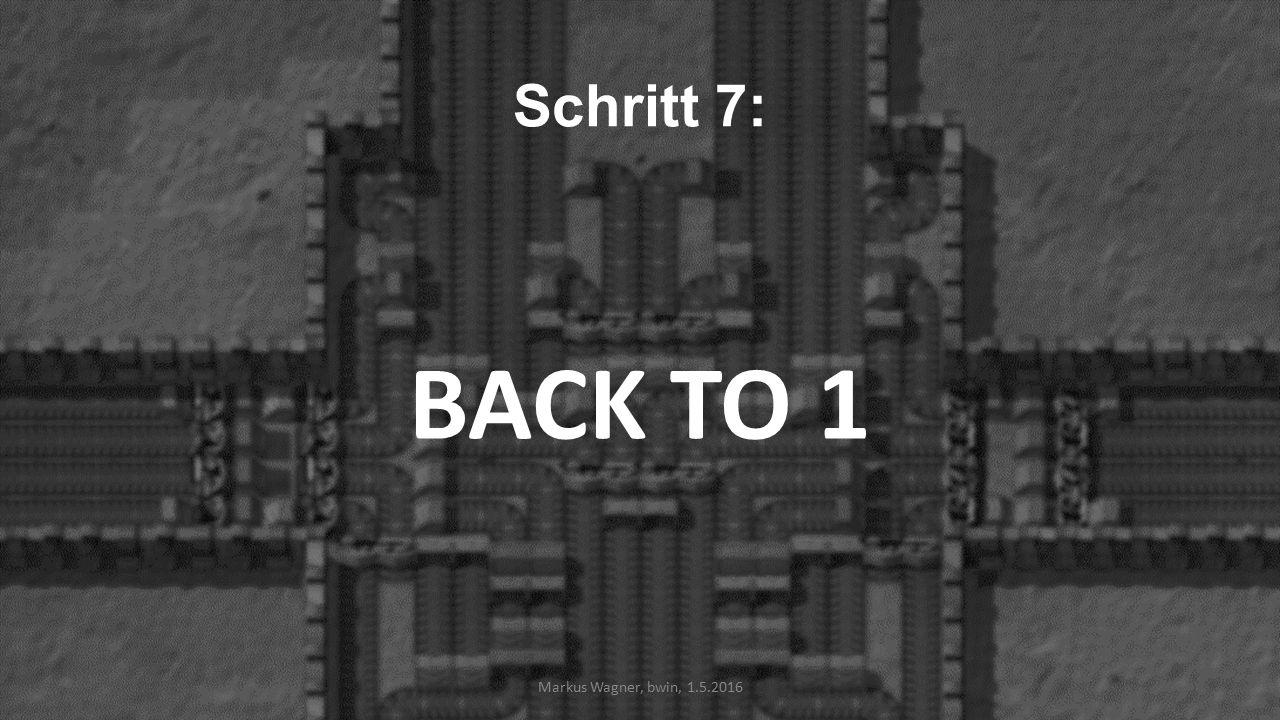 Schritt 7: BACK TO 1 Markus Wagner, bwin, 1.5.2016