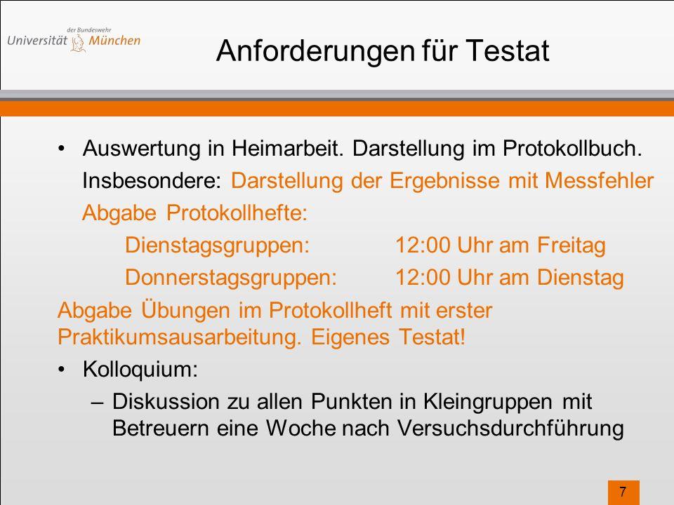 Anforderungen für Testat Auswertung in Heimarbeit.
