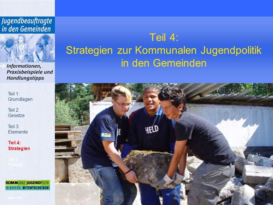wp/BJR 2008 Teil 4: Strategien zur Kommunalen Jugendpolitik in den Gemeinden Teil 1: Grundlagen Teil 2: Gesetze Teil 3: Elemente Teil 4: Strategien Teil 5: Partner
