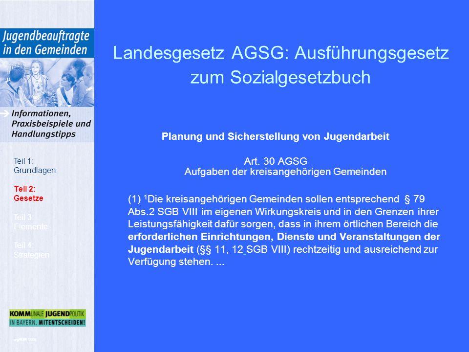 wp/BJR 2008 Landesgesetz AGSG: Ausführungsgesetz zum Sozialgesetzbuch Planung und Sicherstellung von Jugendarbeit Art.