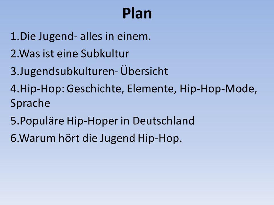 Plan 1.Die Jugend- alles in einem. 2.Was ist eine Subkultur 3.Jugendsubkulturen- Übersicht 4.Hip-Hop: Geschichte, Elemente, Hip-Hop-Mode, Sprache 5.Po
