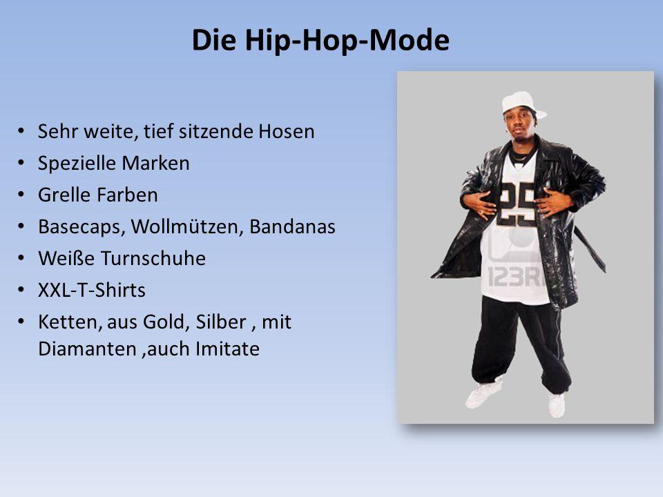 Die Hip-Hop-Mode Sehr weite, tief sitzende Hosen Spezielle Marken Grelle Farben Basecaps, Wollmützen, Bandanas Weiße Turnschuhe XXL-T-Shirts Ketten, aus Gold, Silber, mit Diamanten,auch Imitate