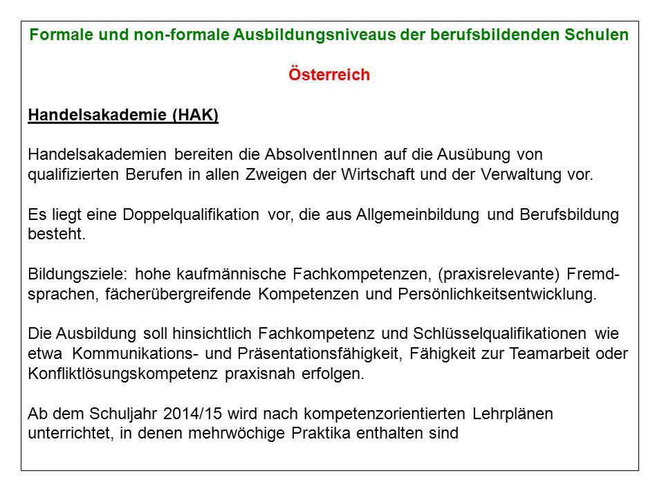 Formale und non-formale Ausbildungsniveaus der berufsbildenden Schulen Österreich Handelsakademie (HAK) Handelsakademien bereiten die AbsolventInnen auf die Ausübung von qualifizierten Berufen in allen Zweigen der Wirtschaft und der Verwaltung vor.