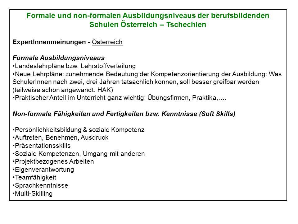 Formale und non-formalen Ausbildungsniveaus der berufsbildenden Schulen Österreich – Tschechien ExpertInnenmeinungen - Österreich Formale Ausbildungsniveaus Landeslehrpläne bzw.