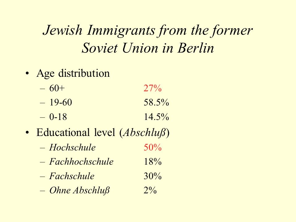 Jewish Immigrants from the former Soviet Union in Berlin Age distribution –60+ 27% –19-60 58.5% –0-18 14.5% Educational level (Abschluß) –Hochschule50% –Fachhochschule18% –Fachschule30% –Ohne Abschluß2%