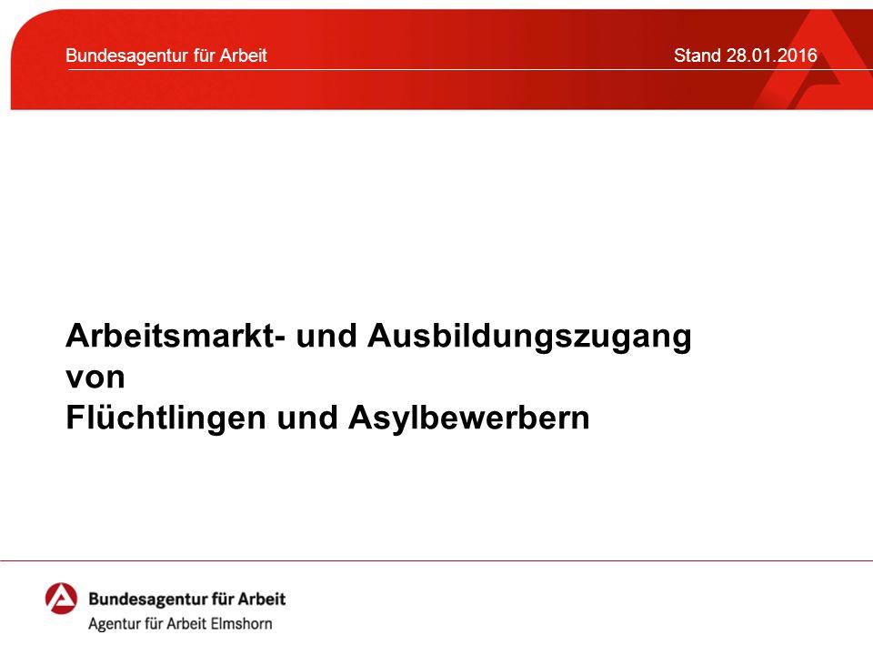Arbeitsmarkt- und Ausbildungszugang von Flüchtlingen und Asylbewerbern Bundesagentur für ArbeitStand 28.01.2016