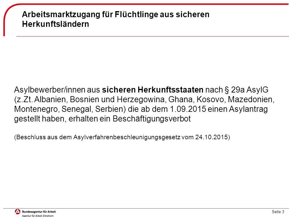 Seite 3 Arbeitsmarktzugang für Flüchtlinge aus sicheren Herkunftsländern Asylbewerber/innen aus sicheren Herkunftsstaaten nach § 29a AsylG (z.Zt. Alba