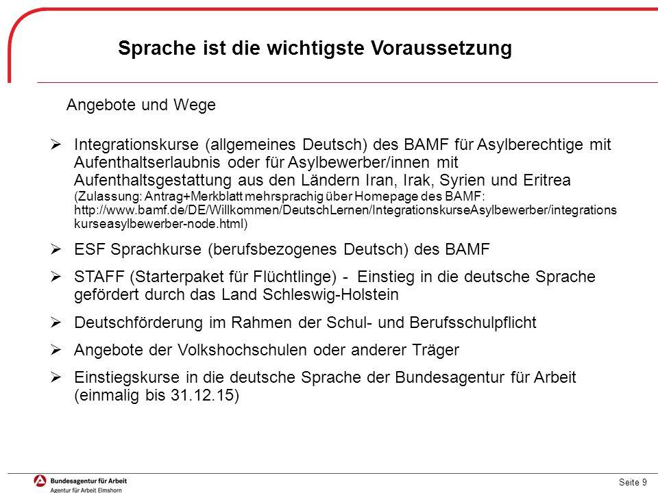Seite 9 Sprache ist die wichtigste Voraussetzung  Integrationskurse (allgemeines Deutsch) des BAMF für Asylberechtige mit Aufenthaltserlaubnis oder f