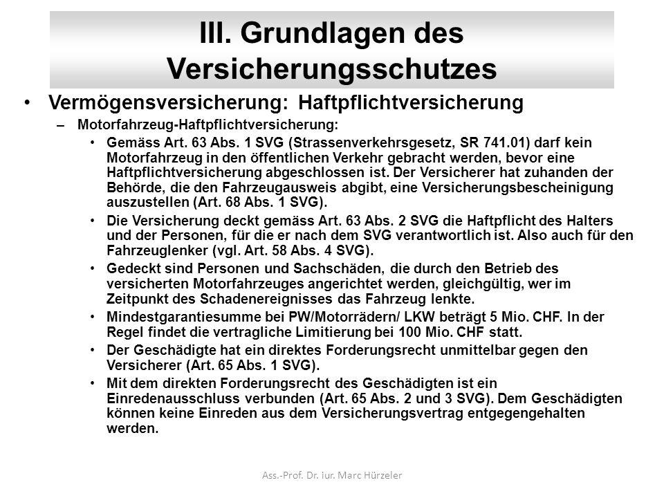 III. Grundlagen des Versicherungsschutzes Vermögensversicherung: Haftpflichtversicherung –Motorfahrzeug-Haftpflichtversicherung: Gemäss Art. 63 Abs. 1