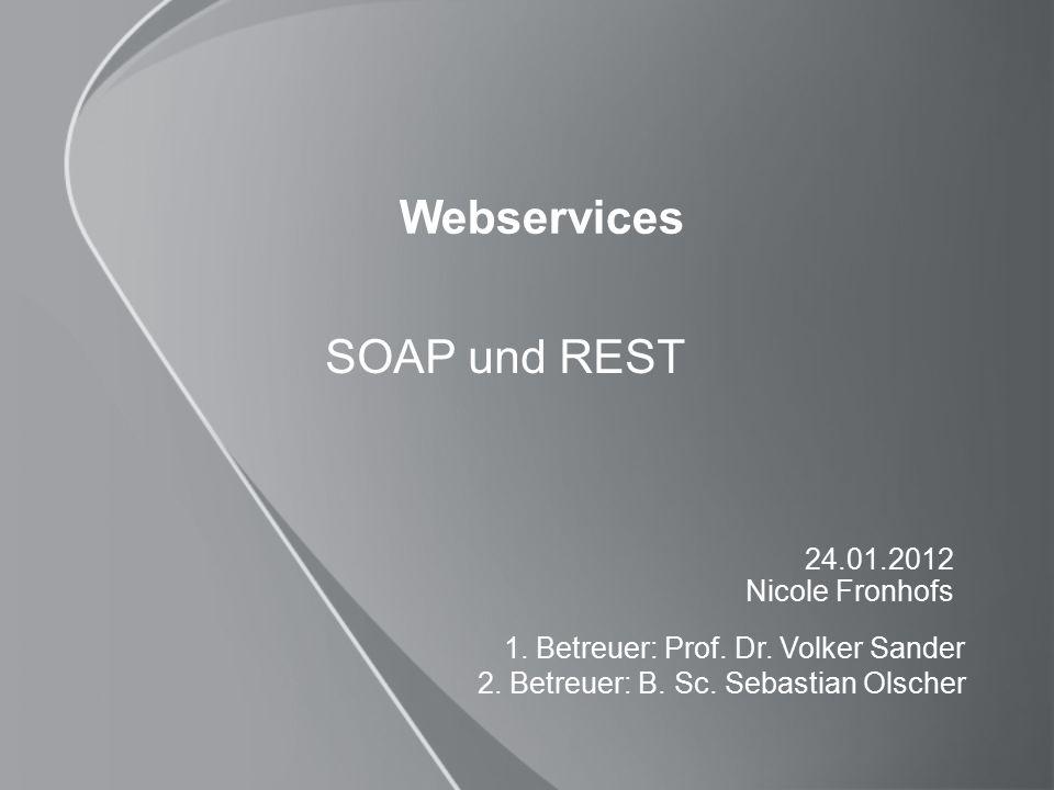 22 REST und SOAP im Vergleich SOAPREST PerformanceXML→Overhead, XML- Parsing Alle Informationen in URL→ kein XML- Parsing nitwendig Schnittstellenänderung Große Änderungen, da Client genau auf Schnittstelle zugeschnitten sind Keine Änderungen.