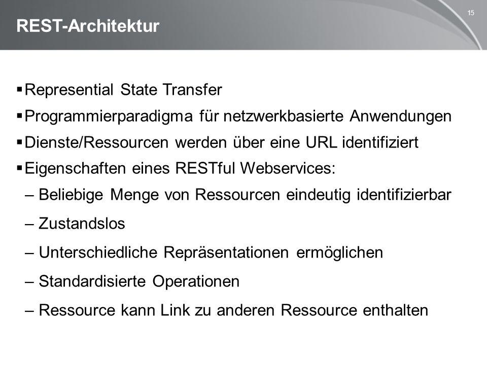 15 REST-Architektur  Represential State Transfer  Programmierparadigma für netzwerkbasierte Anwendungen  Dienste/Ressourcen werden über eine URL identifiziert  Eigenschaften eines RESTful Webservices: –Beliebige Menge von Ressourcen eindeutig identifizierbar –Zustandslos –Unterschiedliche Repräsentationen ermöglichen –Standardisierte Operationen –Ressource kann Link zu anderen Ressource enthalten