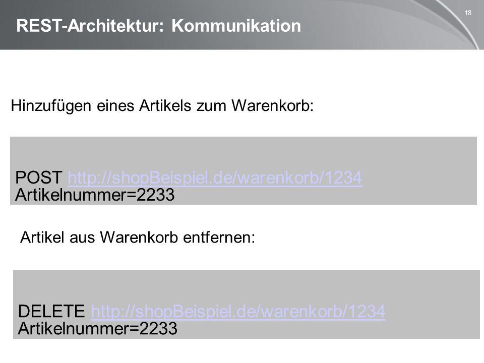 18 REST-Architektur: Kommunikation Hinzufügen eines Artikels zum Warenkorb: Artikel aus Warenkorb entfernen: POST http://shopBeispiel.de/warenkorb/1234http://shopBeispiel.de/warenkorb/1234 Artikelnummer=2233 DELETE http://shopBeispiel.de/warenkorb/1234http://shopBeispiel.de/warenkorb/1234 Artikelnummer=2233