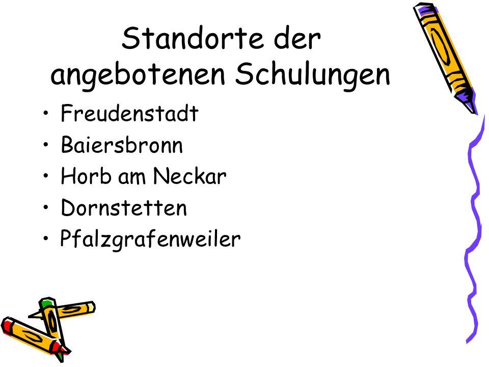 Freudenstadt Baiersbronn Horb am Neckar Dornstetten Pfalzgrafenweiler Standorte der angebotenen Schulungen