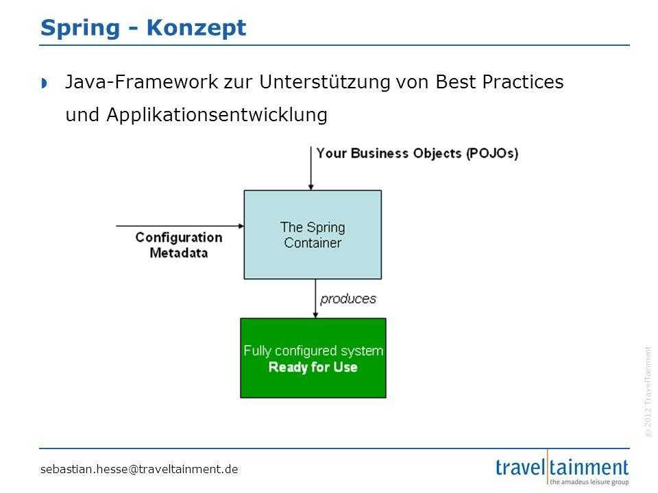 © 2012 TravelTainment Spring - Konzept  Java-Framework zur Unterstützung von Best Practices und Applikationsentwicklung sebastian.hesse@traveltainment.de